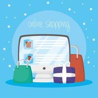 bureau avec technologie d'achat en ligne vecteur