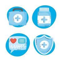 jeu d'icônes de technologie de santé en ligne vecteur