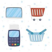 ensemble d'icônes de technologie de commerce électronique et d'achat en ligne vecteur