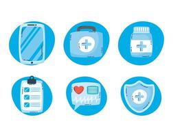jeu d'icônes de technologie de santé en ligne