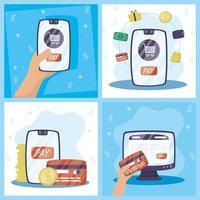 ensemble de technologies de paiement en ligne gadgets