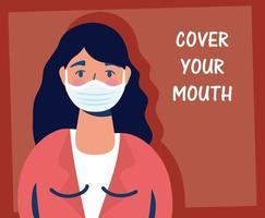 femme portant un masque facial avec lettrage vecteur
