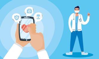 technologie de santé en ligne via smartphone vecteur