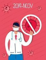 médecin avec masque facial vecteur