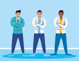 personnages de dessins animés du personnel médical vecteur