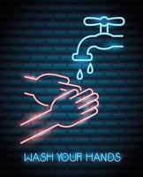 se laver les mains, enseigne au néon coronavirus