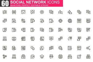 jeu d'icônes de ligne mince de réseau social vecteur