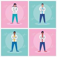 jeu de caractères de dessin animé de personnel médical vecteur