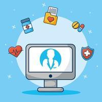 technologie de santé en ligne via un ordinateur de bureau