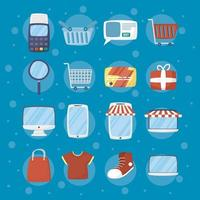 ensemble d'icônes de technologie de commerce électronique et d'achat en ligne
