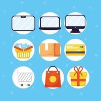 jeu d'icônes de magasinage et de commerce électronique en ligne vecteur
