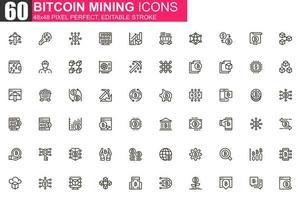 Jeu d'icônes de fine ligne minière bitcoin vecteur