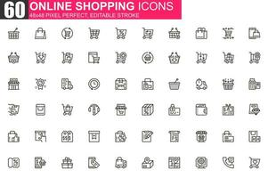 jeu d'icônes de fine ligne shopping en ligne vecteur