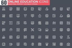 jeu d'icônes de fine ligne éducation en ligne vecteur
