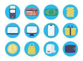 jeu d'icônes de technologie de paiement en ligne