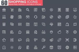 shopping jeu d'icônes de fine ligne vecteur