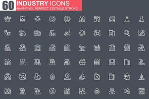 jeu d'icônes de fine ligne de l'industrie lourde vecteur