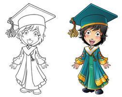 Page de coloriage de dessin animé homme de graduation pour les enfants vecteur