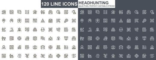 jeu d & # 39; icônes de fine ligne de chasse de tête