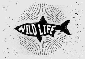silhouette de poisson dessinée à la main vintage