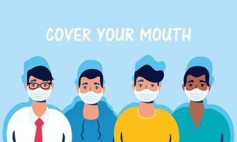 hommes avec des masques faciaux et couvrent votre lettrage de bouche vecteur