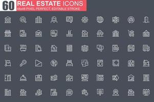 jeu d'icônes de ligne mince immobilier vecteur