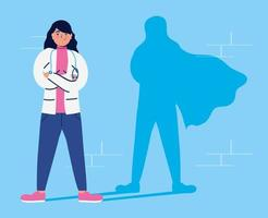 femme médecin en tant que super héros vecteur