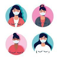 groupe de femmes portant des personnages de masques faciaux vecteur
