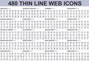 ensemble d'icônes de fine ligne vecteur
