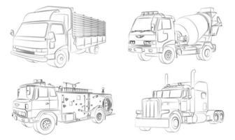 Coloriage de camions de dessin animé pour les enfants vecteur
