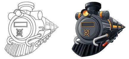 Coloriage de dessin animé de locomotive pour les enfants vecteur