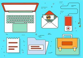 Éléments et icônes de bureau gratuits de design plat vecteur