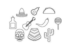 vecteur libre icône ligne ligne mexico