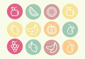 Ensemble vectoriel d'icônes de fruits