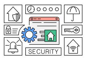 Icônes gratuites de sécurité à domicile vecteur