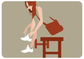 fille avec son vecteur chaussures