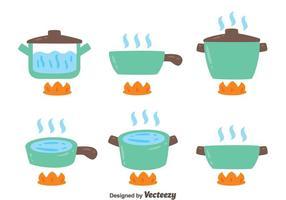 Pots avec de l'eau bouillante sur fond blanc vecteur