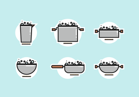 Pots avec paquet de vecteur libre d'eau bouillante
