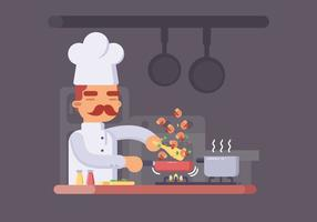 Chef cuisinier aux crevettes dans un pot vecteur