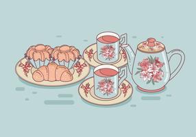 Ensemble de tasses à thé et vecteur brioche