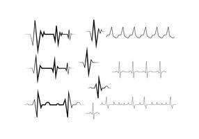 Vector de ligne de collection de rythme cardiaque gratuit