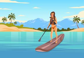 Femme, debout, paddleboard, vecteur