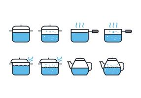 Ensemble d'icônes d'eau bouillante vecteur