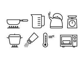 Ensemble d'icônes de cuisine vecteur