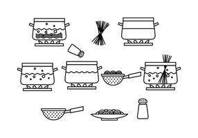 Vector de processus de pâtes de cuisson gratuit