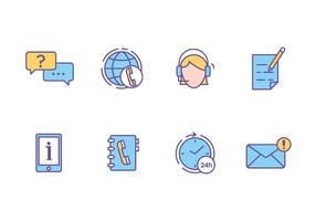 Icônes du centre d'appels et du service à la clientèle vecteur