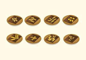macaroni sur les vecteurs de plaque vecteur