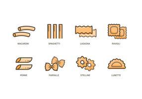 Ensemble d'icônes de pâtes vecteur
