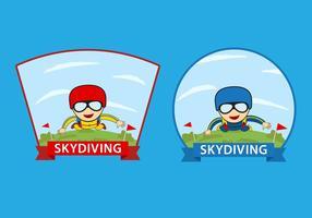 Vecteurs de badge au parachutisme