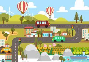 vecteur de paysage de feuille de route